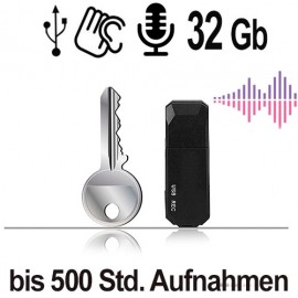 Audioüberwachung per USB-Stick. Digitales Abhörgerät zum Aufzeichnen bis 500 Stunden.
