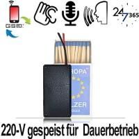 Dieses GSM-Abhörgerät mit zusätzlichem Voicerecorder wird mit 220-V Wechselstrom betrieben, verfügt über einen internen Notstrom