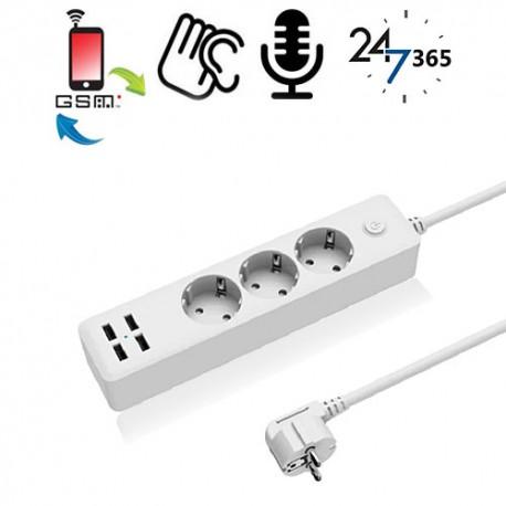 GSM-Abhörgerät in Steckerleiste mit 4x USB für globale Raumüberwachung