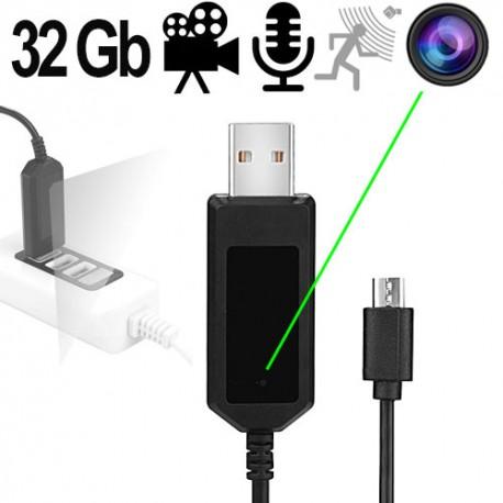 HD SpyCam im USB-Ladekabel mit Mikrofon für diskrete Videoüberwachung & überraschende Aufnahmen mit Ton!
