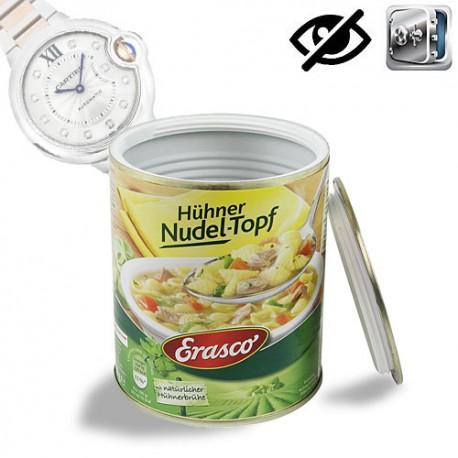 Geheimversteck in LebensmitteldoseGeheimversteck in Lebensmitteldose im original ,,Erasco Hühner Reistopf Design''.